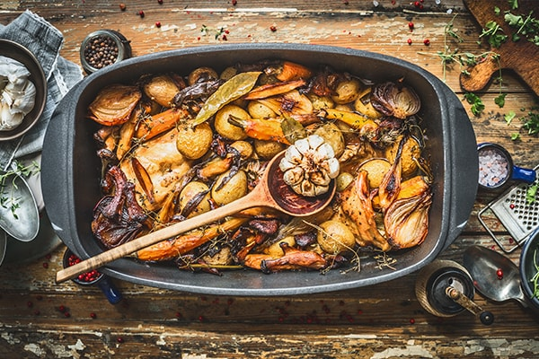 Slow cooked rabbit stew with forest mushrooms and garden vegetables